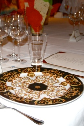 Norwegian Cruise Line's Chef's Table Versace Table Setting and Lavosh